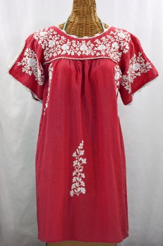 """La Primavera"" Embroidered Mexican Dress - Tomato Red + White"