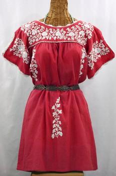 """""""La Primavera"""" Embroidered Mexican Dress - Tomato Red + White"""