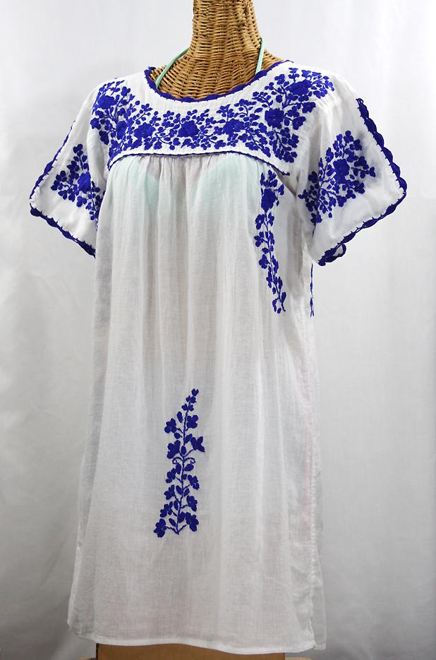 Quot La Primavera Quot Embroidered Mexican Dress White Blue