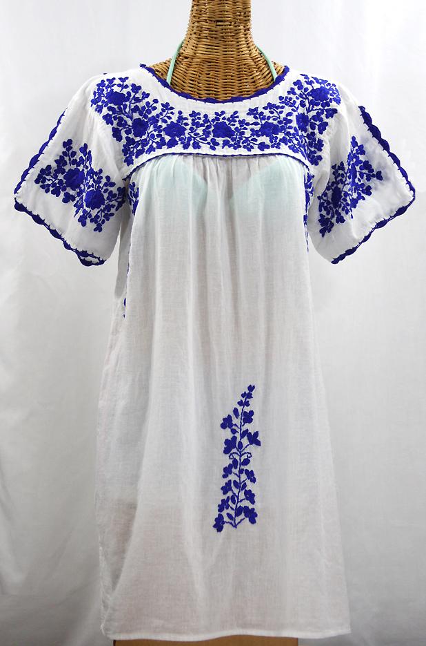 """""""La Primavera"""" Embroidered Mexican Dress - White + Blue"""