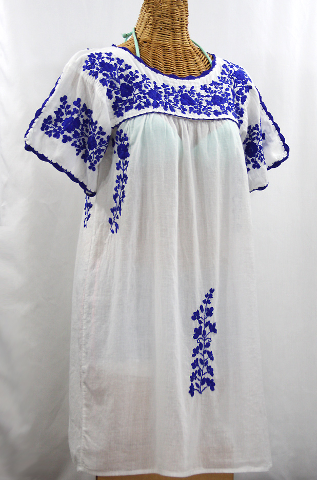 """La Primavera"" Embroidered Mexican Dress - White + Blue"