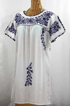"""La Primavera"" Embroidered Mexican Dress - White + Navy"