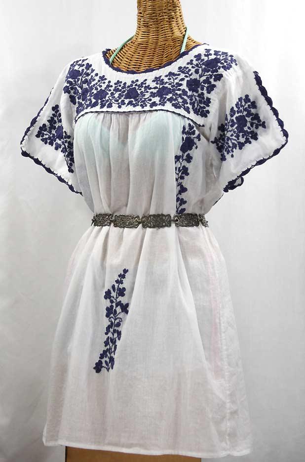 """""""La Primavera"""" Embroidered Mexican Dress - White + Navy"""