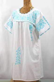 "60% Off Final Sale ""La Primavera"" Embroidered Mexican Dress - White + Neon Blue"