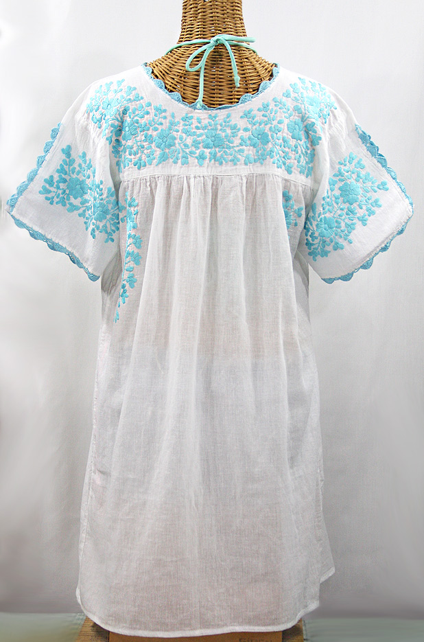 """La Primavera"" Embroidered Mexican Dress - White + Neon Blue"