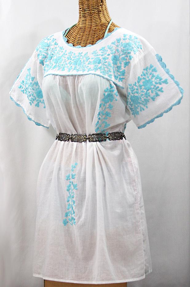 """60% Off Final Sale """"La Primavera"""" Embroidered Mexican Dress - White + Neon Blue"""