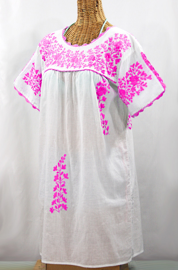 """La Primavera"" Embroidered Mexican Dress - White + Neon Pink"