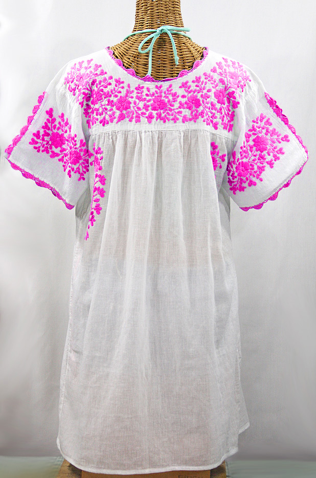 "60% Off Final Sale ""La Primavera"" Embroidered Mexican Dress - White + Neon Pink"