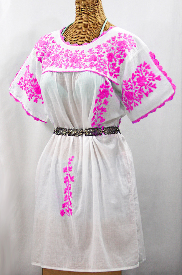 """60% Off Final Sale """"La Primavera"""" Embroidered Mexican Dress - White + Neon Pink"""