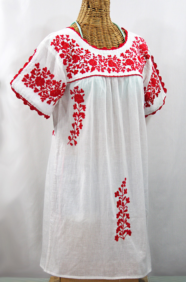 "60% Off Final Sale ""La Primavera"" Embroidered Mexican Dress - White + Red"
