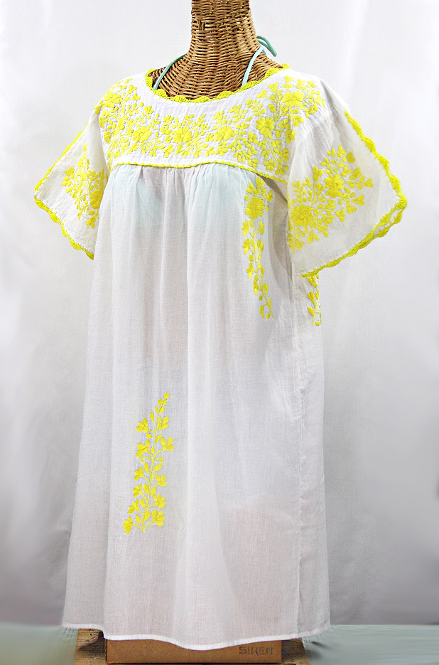 """La Primavera"" Embroidered Mexican Dress - White + Yellow"