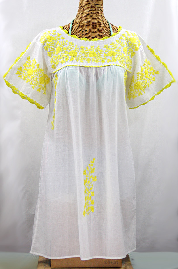 "60% Off Final Sale ""La Primavera"" Embroidered Mexican Dress - White + Yellow"