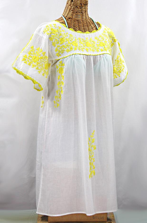 """60% Off Final Sale """"La Primavera"""" Embroidered Mexican Dress - White + Yellow"""