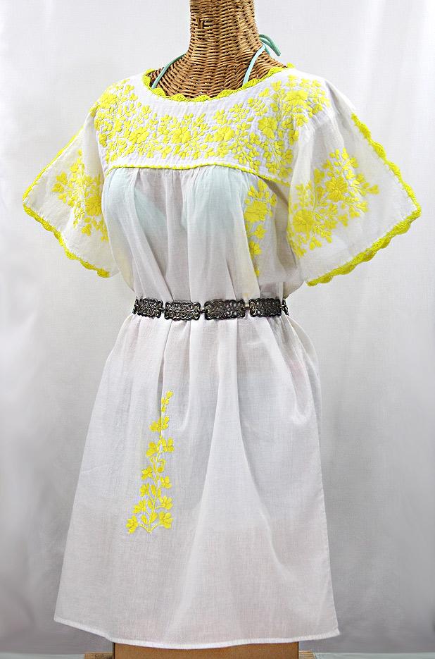 """""""La Primavera"""" Embroidered Mexican Dress - White + Yellow"""