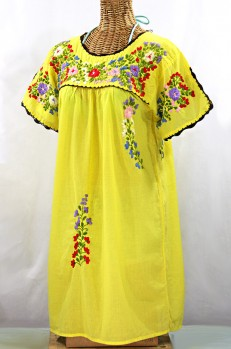 """La Primavera"" Embroidered Mexican Dress - Yellow + Multi"