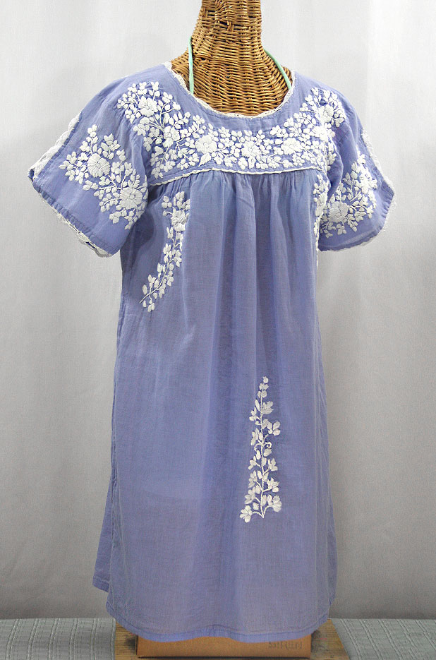 """La Primavera"" Embroidered Mexican Dress - Periwinkle + White"