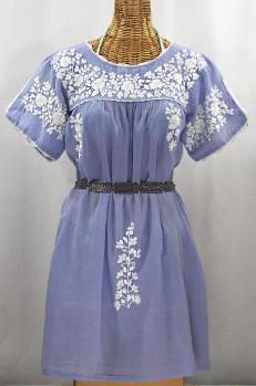 """""""La Primavera"""" Embroidered Mexican Dress - Periwinkle + White"""