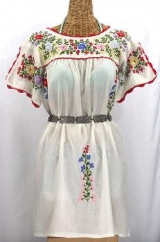 """""""La Primavera"""" Embroidered Mexican Dress - Off White"""