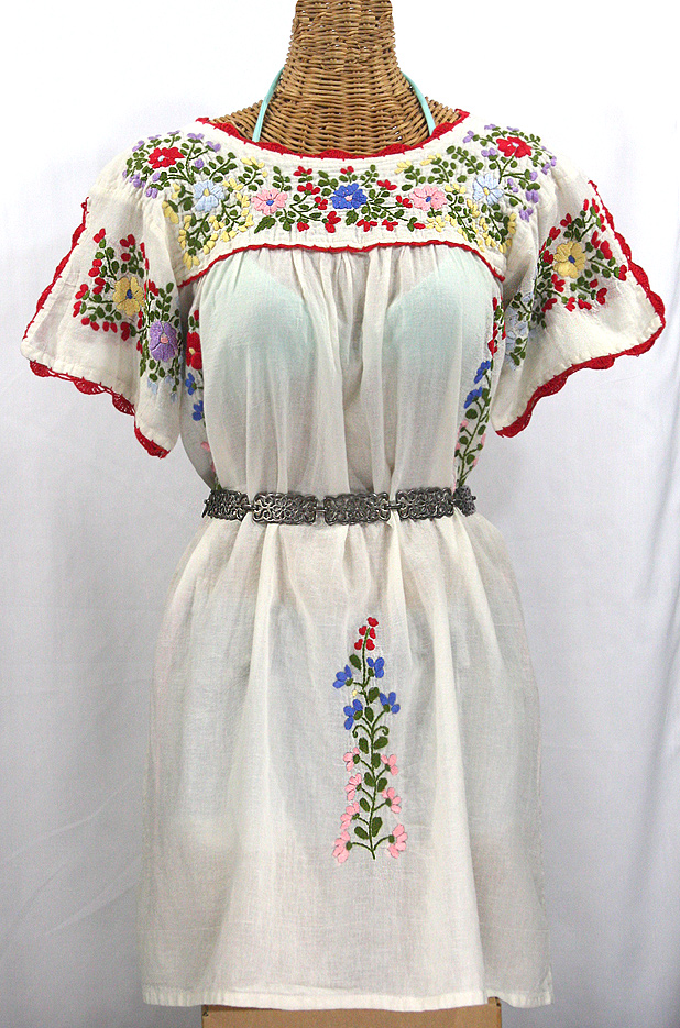 La Primavera Embroidered Mexican Dress Off White