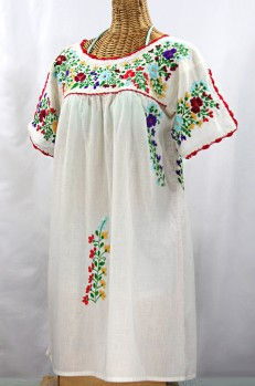"""La Primavera"" Embroidered Mexican Dress - Off White + Jewel Tone"