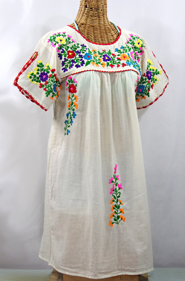 """La Primavera"" Embroidered Mexican Dress - Off White + Rainbow"