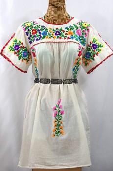 """""""La Primavera"""" Embroidered Mexican Dress - Off White + Rainbow"""