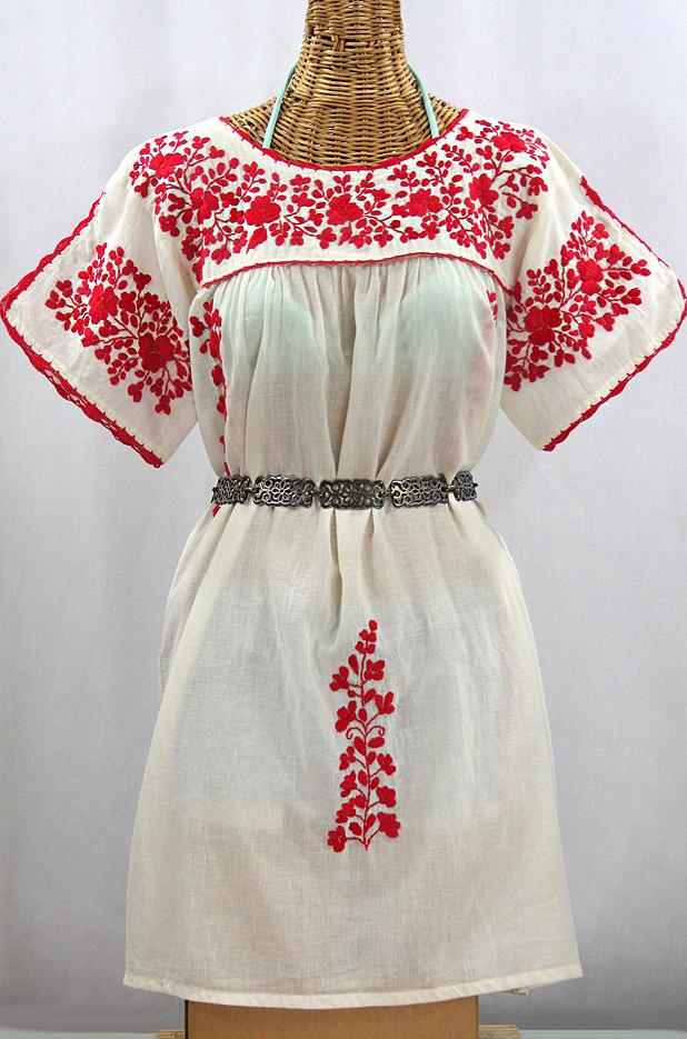 """""""La Primavera"""" Embroidered Mexican Dress - Off White + Red"""