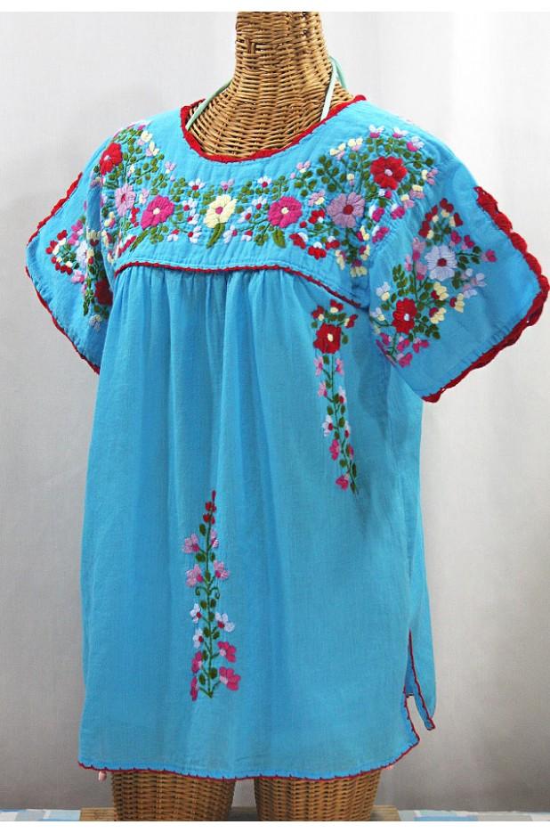 """""""La Primavera"""" Hand Embroidered Mexican Blouse - Aqua + Multi"""