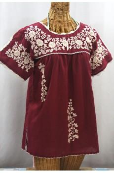 """""""La Primavera"""" Hand Embroidered Mexican Blouse - Burgundy + Cream"""
