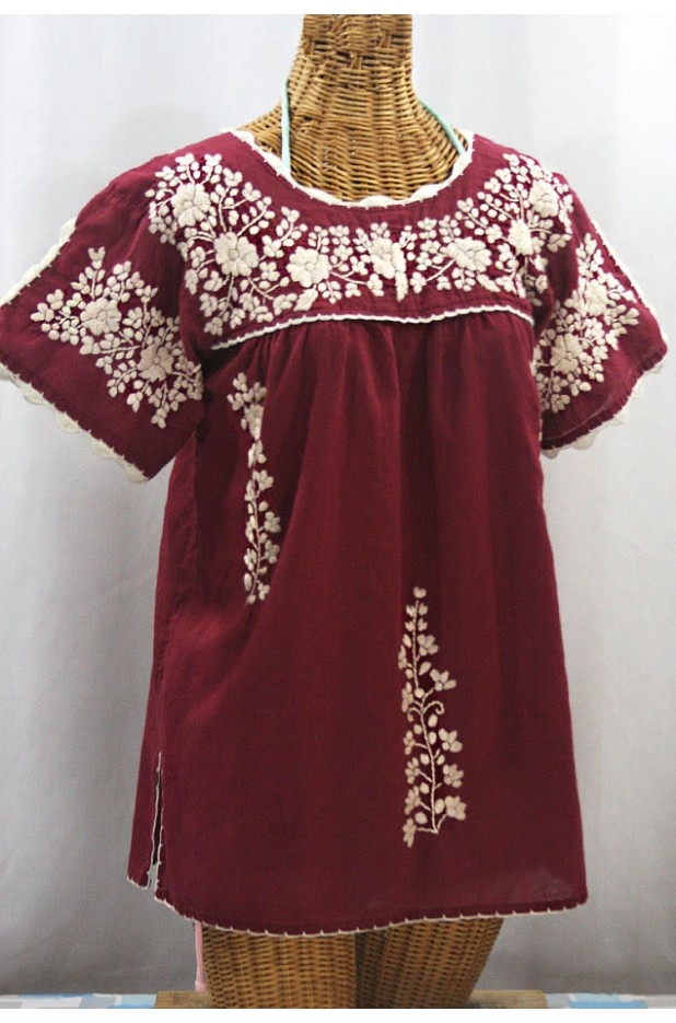 """La Primavera"" Hand Embroidered Mexican Blouse - Burgundy + Cream"