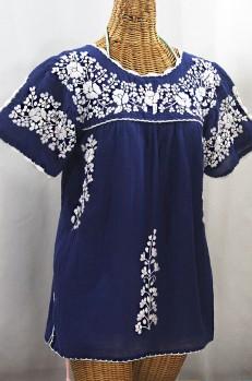 """""""La Primavera"""" Hand Embroidered Mexican Blouse - Denim Blue + White"""