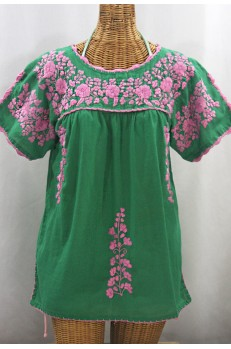 """La Primavera"" Hand Embroidered Mexican Blouse - Green + Pink"