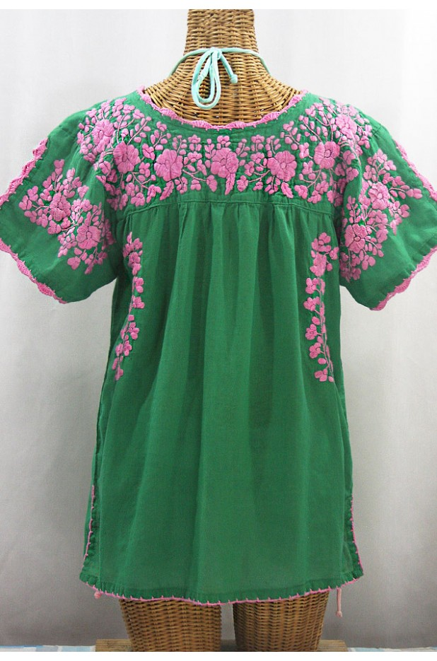 """La Primavera"" Hand Embroidered Mexican Blouse - Green + Pink"