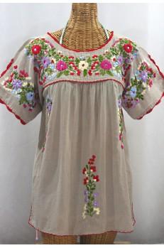 """""""La Primavera"""" Hand Embroidered Mexican Blouse - Greige + Multi"""