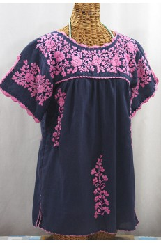 """La Primavera"" Hand Embroidered Mexican Blouse - Navy + Pink"