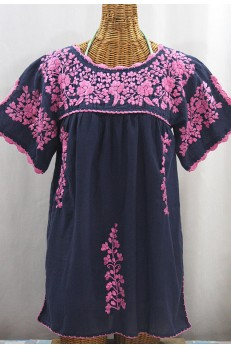 """""""La Primavera"""" Hand Embroidered Mexican Blouse - Navy + Pink"""