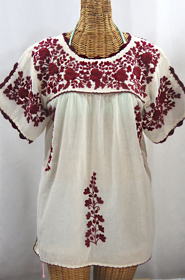 """La Primavera"" Hand Embroidered Mexican Blouse - Off White + Burgundy"