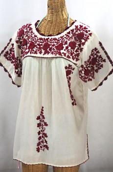"""La Primavera"" Hand Embroidered Mexican Blouse - Off White + Burgundy"