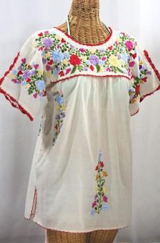 """""""La Primavera"""" Hand Embroidered Mexican Blouse - Off White + Multi"""