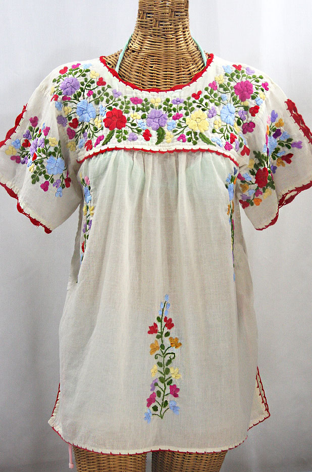 """La Primavera"" Hand Embroidered Mexican Blouse - Off White + Multi"