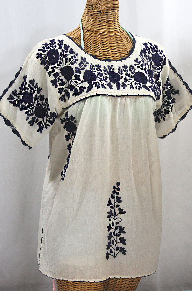 """La Primavera"" Hand Embroidered Mexican Blouse - Off White + Navy"
