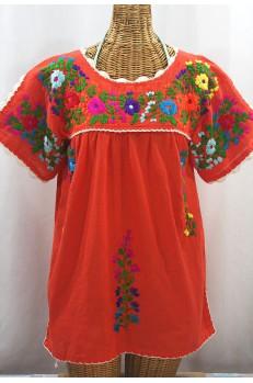 """""""La Primavera"""" Hand Embroidered Mexican Blouse - Orange + Multi"""