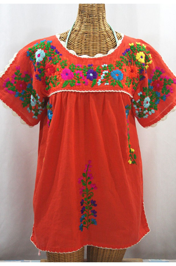 """La Primavera"" Hand Embroidered Mexican Blouse - Orange + Multi"