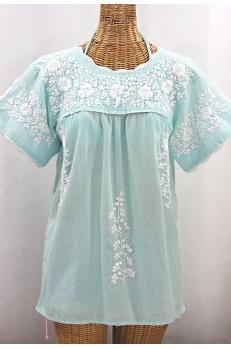 """""""La Primavera"""" Hand Embroidered Mexican Blouse - Pale Blue + White"""