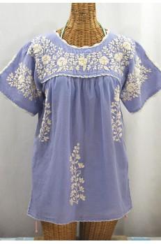 """""""La Primavera"""" Hand Embroidered Mexican Blouse - Periwinkle + Cream"""