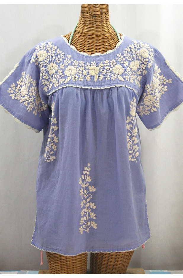 """La Primavera"" Hand Embroidered Mexican Blouse - Periwinkle + Cream"