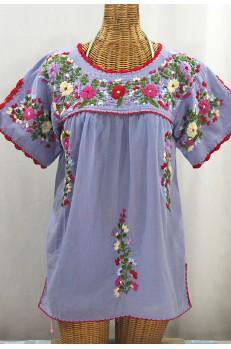 """""""La Primavera"""" Hand Embroidered Mexican Blouse - Periwinkle + Multi"""