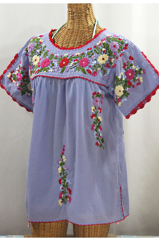 """La Primavera"" Hand Embroidered Mexican Blouse - Periwinkle + Multi"