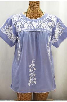 """""""La Primavera"""" Hand Embroidered Mexican Blouse - Periwinkle + White"""