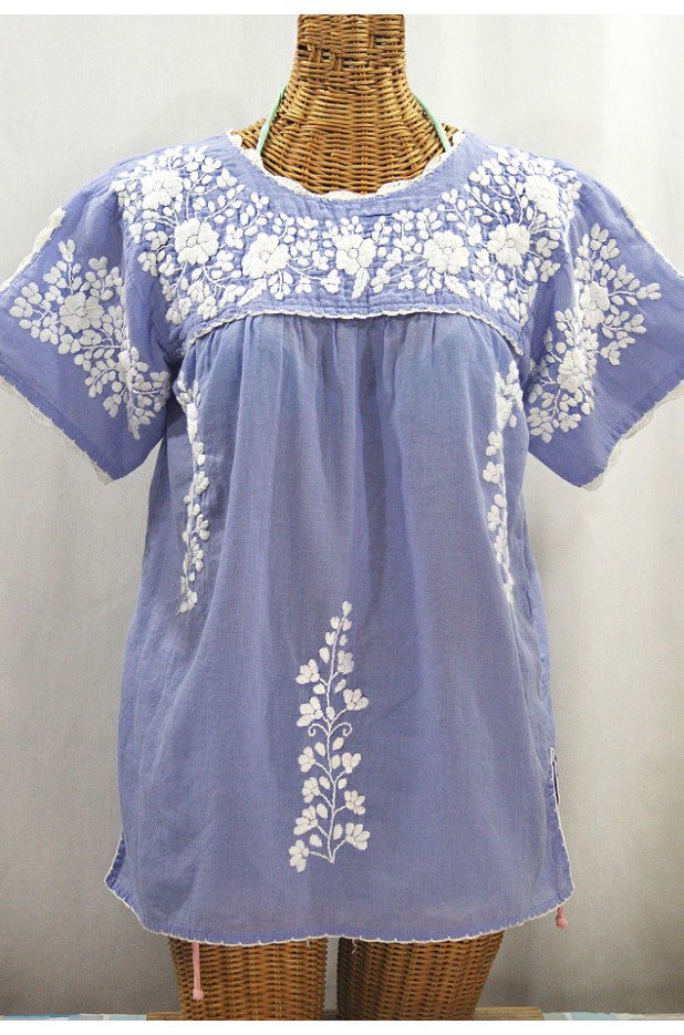 """La Primavera"" Hand Embroidered Mexican Blouse - Periwinkle + White"